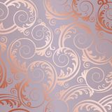 Seamless rose gold swirls and leaves pattern Royalty Free Stock Image