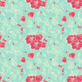 Seamless Rose Pattern. In Blue background Royalty Free Stock Image