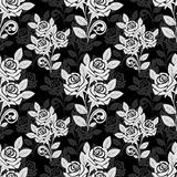 Seamless rose Pattern in black-gray colors Royalty Free Stock Photography
