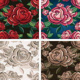Seamless rose pattern. Set of seamless rose flowers pattern drawn in four color variations with possibility to change background color and texture vector illustration