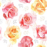 Seamless rose pattern on white background. Elegance watercolor seamless rose pattern of red and yellow roses. Can be used as a greeting card for background Royalty Free Stock Photos