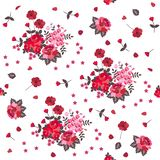 Seamless rose and poppy pattern. Red and pink flowers isolated on white background vector illustration