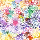 Seamless Rose watercolor Pattern. Vector, EPS 10 Royalty Free Stock Photos