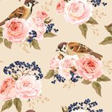 Seamless roses and birds Royalty Free Stock Photos