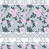 Seamless roses lacy pattern grey Royalty Free Stock Image