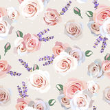 Seamless roses and lavender Royalty Free Stock Images