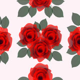 Seamless with roses and leaves. Stock Photos