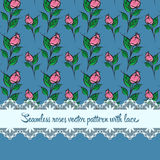 Seamless roses pattern with lace blue background. Seamless roses  pattern with lace blue background Royalty Free Stock Images