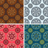 Seamless round art pattern set. Seamless colored round art pattern set Royalty Free Stock Image