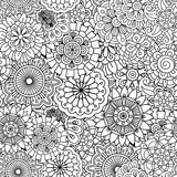 Seamless round floral pattern with pinwheel shapes Stock Image