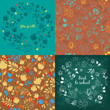 Seamless and round floral patterns set Stock Photography