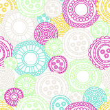 Seamless round graphics. Embellished graphical circles Stock Images