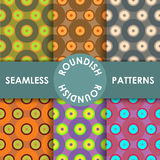 Seamless roundish patterns set Royalty Free Stock Images
