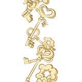 Seamless row of vintage keys Royalty Free Stock Photos