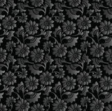 Seamless royal black floral wallpaper Stock Photography