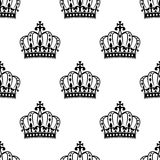 Seamless royal crowns pattern background Stock Photo