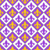 Seamless with royal lily. Mardi gras symbols. Red quilted texture with ilies. Royal symbols Royalty Free Stock Photo