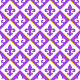 Seamless with royal lily. Mardi gras symbols. Red quilted texture with ilies. Royal symbols Stock Photos