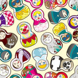 Seamless Russian doll pattern Royalty Free Stock Image