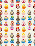 Seamless Russian doll pattern. Drawing Stock Photos