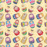 Seamless Russian dolls pattern royalty free illustration