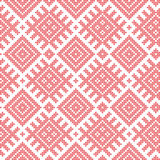 Seamless Russian folk pattern, cross-stitched embroidery imitation. Patterns consist of ancient Slavic amulets. Swatch included in. Vector file Stock Images