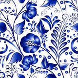 Seamless russian gzhel patterns on a white background Royalty Free Stock Photo