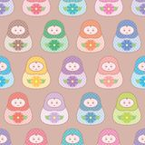 Seamless russian nesting doll surface pattern vector royalty free illustration