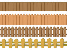 Seamless Rustic Wooden Fence Vector Design Isolated on White Bac Stock Images