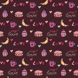 seamless sötsaker för modell Bageriinpackningspapper med giffel och söta muffin Textiltryck, födelsedagdekor och att behandla som stock illustrationer