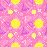 Seamless 1980s inspired graphic pattern. Of lines and geometric shapes. memphis style Stock Photography