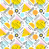 Seamless 1980s inspired graphic pattern. Of lines and geometric shapes. memphis style Royalty Free Stock Image