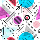 Seamless 1980s inspired graphic pattern. Memphis style. Seamless 1980s inspired graphic pattern of lines and geometric shapes. memphis style royalty free illustration