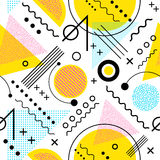 Seamless 1980s inspired graphic pattern. Memphis style. Seamless 1980s inspired graphic pattern of lines and geometric shapes. memphis style stock illustration