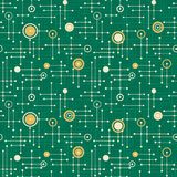 Holiday seamless retro pattern in green and gold stock illustration