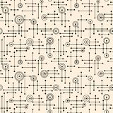 Seamless 1950s retro pattern of lines and circles. For fabric design, wrapping paper, backgrounds. Vector illustration vector illustration