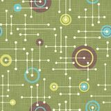 Seamless 1950s retro pattern of lines and circles. For fabric design, wrapping paper, backgrounds. Vector illustration stock illustration