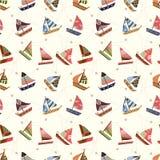 Seamless sailboat pattern stock illustration