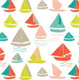 Seamless Sailboat Pattern Stock Photos