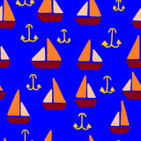 Seamless Sailing Pattern. Seamless pattern with abstract sailing boats and anchors on blue background with complementary colors Royalty Free Stock Photos
