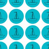 Seamless sailing ships on blue circle pattern vector illustration stock illustration