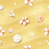 Seamless Sand Background with Flowers Royalty Free Stock Photography