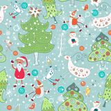 Seamless with Santa Claus and Christmas trees Royalty Free Stock Photos