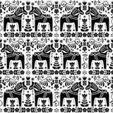 Seamless Scandinavian folk art pattern, Swedish Dala or Daleclarian horse floral design Royalty Free Stock Photo