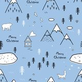 Seamless scandinavian pattern with bear, fox, houses and trees, texture landscape in outline style. Vector Christmas. Cute seamless scandinavian pattern with vector illustration