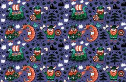 Seamless scandinavian pattern with catoon characters. Vikings, dragon and ship Stock Images