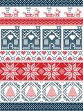 Seamless Scandinavian Textile style, inspired by Norwegian Christmas, festive winter seamless pattern in cross stitch. With gingerbread house, Christmas tree Royalty Free Stock Image