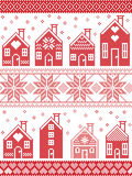 Seamless Scandinavian winter pattern in cross stitch style with gingerbread house village including decorative elements in red and. Seamless Scandinavian style Stock Image