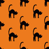Seamless scary cat pattern Stock Photos