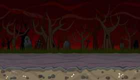 Seamless scary landscape with trees for game design Royalty Free Stock Photos